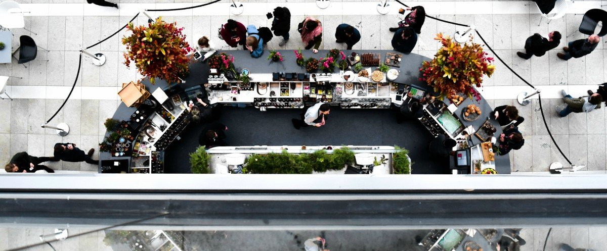 top view of café in a mall