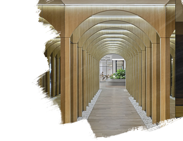 Wooden walkway arch arranged in a long line