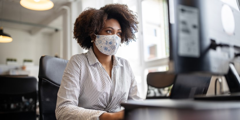 Women wearing mask at workplace